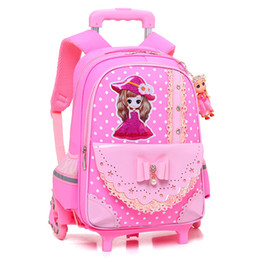 wheeled trolley backpacks Promo Codes - New Removable Children School Bags With 2 6 Wheels For Girls Trolley Backpack Kids Wheeled Bag Bookbag Travel Luggage Mochilas