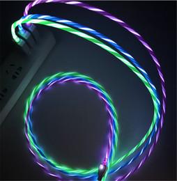 Cordon de charge de câble flash led en Ligne-1m 2m visible lumière LED allumer micro usb câble de données de charge câble de charge flash pour Samsung téléphone portable I5 I6 I7 voiture