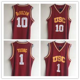 camisetas de baloncesto de la universidad Rebajas NCAA 1 Nick Young 10 DeRozan USC Southern California College Basketball Wears Camiseta de la universidad Camiseta cosida de calidad superior