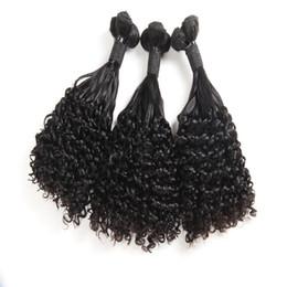 2019 prix tissage péruvien de 12 pouces Funmi Hair Aunty Bouclés Vague Extensions de Cheveux Brésiliens Top Grade Non Transformés Cheveux Humains 3 Faisceaux Naturel Noir Couleur 8-18inch