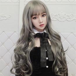 Preços perucas curly on-line-Peruca Europeu Feminino e americanos de moda de cabelo longo encaracolado Air Bangs Cabeça de Preço Baixo Alta Qualidade