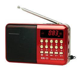 2019 dvd recargable Mini FM receptor de radio portátil reproductor de MP3 con conector de 3,5 USB TF Toma de auriculares Soporte 18650 altavoz recargable de la batería