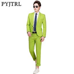 esmoquin verde azul Rebajas Pyjtrl M-5xl Tide Hombres Trajes de Boda de Moda Coloridos Más Tamaño Amarillo Rosa Verde Azul Púrpura Trajes Chaqueta y Pantalones Esmoquin Y190422