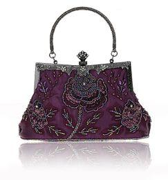 pochette perlée violette Promotion Perlé pailleté Purple femmes chinoises de mariage sac de soirée sac à main d'embrayage mariée Parti bourse de sac de maquillage Livraison gratuite 03331-1-B