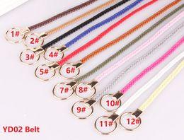 Women s woven leather belts en Ligne-YD02-12Colors Ceintures tissées pour femmes Cercle de mode noué décoratif Ceintures minces Ceintures sauvages en cuir Pu 120pcs / lot DHL