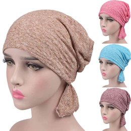 chapeau de turban féminin Promotion Été Femmes Chapeau Bonnet Fleur Turban Tête Capuchon Été Femme Tricoté Casual Coton Casquette Hedging Fille Skullies 2019