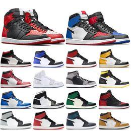 2019 boule d'or rose nike air jordon retro 1s Hommes Chaussures De Basket-ball Or Noir Toe Top 3 Mid Bred Multi Designer Chaussures 1 PSG Banni Pin Vert Sport Sneakers boule d'or rose pas cher