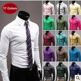 мужские офисные цвета Скидка 17 цветов с длинным рукавом офисная мужская деловая рубашка Slim Fit сплошные белые рубашки в соответствии костюмы 190723-6492