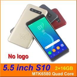 billige bar handy Rabatt 5,5 Zoll S10 Viererkabel-Kern-intelligentes Telefon MTK6580 2G 16G Android 5.1 Doppel-SIM Nocken 5MP 960 * 480 3G WCDMA setzte bewegliches Gesicht entriegeln Geste Spur frei