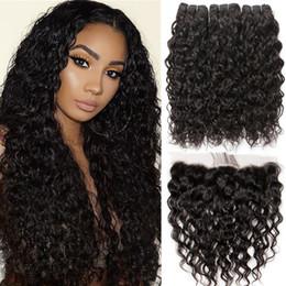 Виргинские волосы онлайн-8A норки бразильские девственные волосы воды Волна 3 пучки с фронтальной естественный цвет топ кружева фронтальная закрытие с волосами ребенка глубокая волна вьющиеся волосы