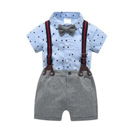 4a520c13b7e3a 2019 Summer baby boy clothes baby formal attire shirt Romper+ suspender  trousers short pants Infant Outfits Newborn sets Toddler suits A2228 baby  shirt ...