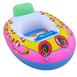 Imbarcazioni gonfiabili per bambini online-PVC gonfiabile per bambini Seggiolino per bambini Nuoto Anello di nuoto Pool Aid Trainer Beach Float Boat 65 * 45cm