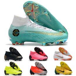 2019 superflys de fútbol Original marca Mercurials Superflys VI 360 Elite FG CR7 zapatos de fútbol de moda botas de fútbol zapatillas para hombres negro rojo verde azul v020 superflys de fútbol baratos