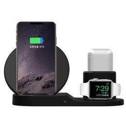 Зарядное устройство онлайн-Для Apple watch 2 3 4 AirPods Quick Qi Wireless Charger XS Max XR X 8 Plus Samsung держатель быстрая зарядка подставка база
