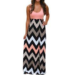 Argentina 2018 damas para mujer de alta calidad a rayas vestido largo boho Lady Beach Summer Sundrss Party Maxi vestido diario nueva moda F70 Suministro