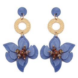 Les femmes Pétales Boucles d/'oreilles fleur résine exagérer Big Ear Stud Statement Jewelry