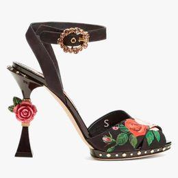 Sandalen romantisch online-Romantische offene Zehe Blumendruck Sommer Schuhe Vintage Rose Blume verschönert Ferse Knöchelriemen High Heel Sandalen Designer Schuhe Frauen
