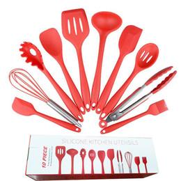 кухонные принадлежности Скидка Силиконовые кухонная утварь Набор 10 шт посуда набор антипригарной посуды кухонные инструменты для готовки барбекю выпечки сервировки