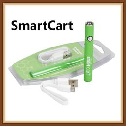 Stapelgebühr online-Beliebte SmartCart Batterie 450mAh Vape Pen Batterie mit variabler Spannung vorheizen Smart Carts Bottom Usb Ladedampf für dicke Ölpatrone