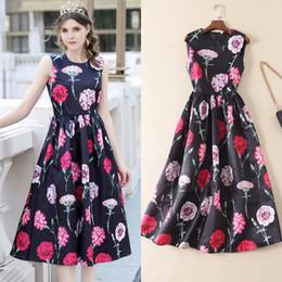 Vestidos de la pista de la demostración de manera online-DGstyle Womens Party elegante vestidos formales 2019 Vintage Rose impreso Swab Rockabilly pasarela pasarela desfile de moda vestidos túnica