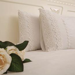 liebesentwurfsfallabdeckung Rabatt Feste weiße Farbe Kissenbezug mit Spitze Rectangle Bett Kopfkissenbezug im europäischen Stil elegant gestickten pillowcase Luxus