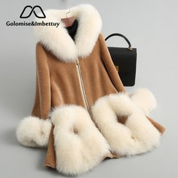 2019 abrigo de zorro GolomiseImbettuy Moda para mujer Mezclas de lana sintética Abrigos de piel Chaqueta de piel de lana para mujer con capucha con adornos de zorro grande y real abrigo de zorro baratos