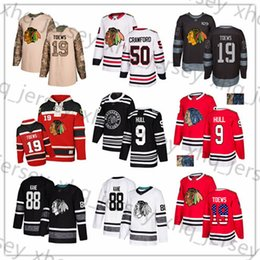 2019 bobby hull hockey Individuelle Chicago Blackhawks Jersey 9 Bobby Hull 88 Patrick Kane 19 Jonathan Toews 12 DeBrincat 50 Crawford 64 Keith USA Flag Hockey Jerseys rabatt bobby hull hockey