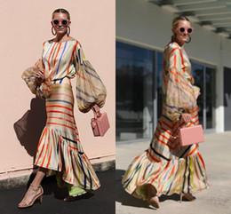 décontracté salut bas robe Promotion Mode Femmes Casual Longue Poet Manches Robes De Fête Haute Basse Col Ras Du Cou Femmes Robe Robe Pas Cher 1747