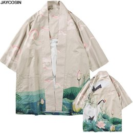 Argentina KLV para hombre Blusas de verano Grúa Moda Individualidad Impresión Blusas Kimono Primavera Ropa Mujer Boho Kimono Cardigan 9418 cheap xl mens kimonos Suministro