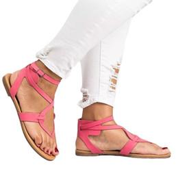 Обувь открытая онлайн-Summer Women Sandals Fashion Gladiator Flat Sandals Ladies Casual Flat Shoes Female Open Toes Beach Shoes