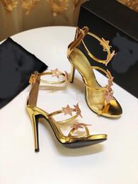Strass sandales gladiateur argent en Ligne-Luxe Femme Étoile Strass Sandales À Talons Hauts Femmes Sandales Argent Cristal Sandales Gladiator Femmes D'été Sexy Party Chaussures Femmes