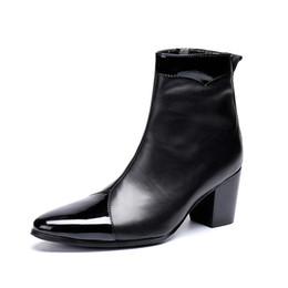 Botas de vaquero para hombre invierno online-Zapatos para hombre Tacones altos Botas Militares Cuero genuino Hombres Botines Zapatos de vaquero Punta de metal negro Punk Botas Otoño Invierno