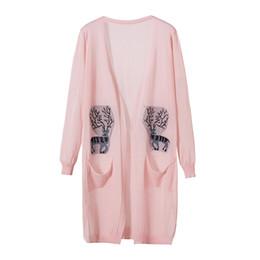 Vêtements de climatisation en Ligne-2019 printemps été Cardigan protection solaire femmes Trench-Coat pull long section mince climatisation Femme Vêtements rose