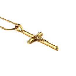 Kleine kostüme online-Mode Modeschmuck Herren Kreuz Halskette Anhänger Kleine Jesus Charme Halsketten 18 karat Vergoldet Kette Hip Hop Schmuck Für Männer