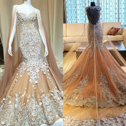 wedding dresses lace cloaks Promo Codes - Dubai Champagne Lace Mermaid Wedding Dresses With Cloak Illusion Backless Sweetheart Neck Sleeveless Beaded Bridal Gowns Vestido De Noiva