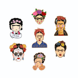 Pin de collar de metal online-Frida Kahlo Pintor mexicano Retrato Broche Esmalte duro Pin Botón Ramillete Joyería Ornamento Falda Collar Insignia Decoración Bolsa de mezclilla Accesorio