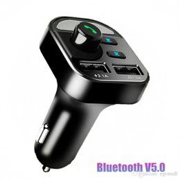 Lcd display ladegerät online-USB-AUX Bluetooth 5.0 Car Kit 4.1A Dual USB Phone Charger FM-Transmitter Wireless Audio Receiver LCD-Digital-Spannungsanzeige