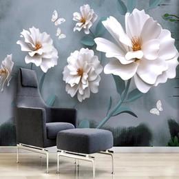 Papel tapiz para habitaciones de hotel online-Personalizada Papel de parede 3d, murales pequeñas flores blancas frescas para el salón fondo hotel de la decoración del hogar del papel pintado impermeable