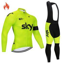 sky pro radfahren trikots Rabatt 2018 Pro Team Winter-Set thermische Fleece Radtrikot abbigliamento ciclismo invernale Fahrradkleidung MTB Fahrrad Jersey-Top Himmel C18122601