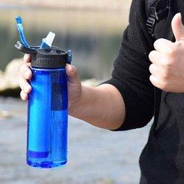 garrafas de água mochila Desconto Portátil filtro de água Garrafa de Emergência água filtrada com filtro de palha integrado para Caminhadas Mochila e Viagem