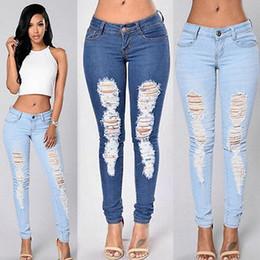 jeansbekleidung für frauen Rabatt Vier Jahreszeiten können hohe Taille dünn eng langen Jeans Bleistift Stretch tragen zerrissene Jeans-Hosen plus Größe für Damen Frau weiblich