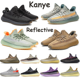 Pu running shoes on-line-Kanye Running Shoes Asriel Israfil Zyon linho Mens Sports Sneakers Cinder Marsh Linho Terra Yeshaya Yecheil Preto estática reflexivos Sapatos