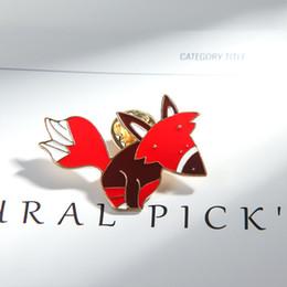 spille smaltate Sconti Cartoon Fox Animal smalto spilla distintivo pin gioielli di moda per bambini regalo gioielli regalo