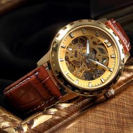Reloj de engranaje steampunk online-Relojes para hombre de primeras marcas de lujo Gold Tone Gear Case mecánico esqueleto Steampunk hombre reloj de cuero automático Relogio masculino