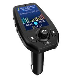"""Adaptador de iphone para radio de coche online-1.8 """"Color LCD Bluetooth Transmisor FM Adaptador de radio inalámbrico Receptor Manos libres Kit de coche Voltaje Lectura Soporte AUX USB Disco Tarjeta TF"""