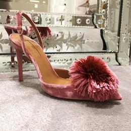 Порошковые насосы онлайн-Горячая распродажа - отличное официальное качество обуви Aquazzura Powder Puff Velvet Pumps Slingback Натуральная кожа Сексуальная обувь на высоком каблуке Европейская