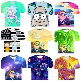 Camisas de anime para online-Rick y Morty camiseta 3D Hombres Mujeres Verano Anime camiseta Camisetas de manga corta O-cuello Tops Adolescente niños grandes adultos camiseta KKA6678