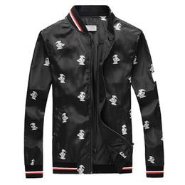 2019 stilvolle schwarze jacken Designer-Jacken der modernen stilvollen Männer der Toucan gedruckte Luxusjacke heißer Verkäufer Youngth Black Windjacke günstig stilvolle schwarze jacken