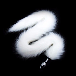 Sesso gioca per i cani online-Spina anale in acciaio inossidabile con 75cm di volpe lunga / coda di cane Coda bianca Butt plug anale Giocattoli divertenti del sesso per le coppie