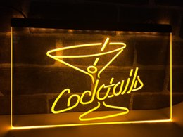 enseignes au néon cocktails Promotion LB522- Cocktails Rhum Wine Lounge Bar Pub LED Neon Light Sign décoration de la maison artisanat